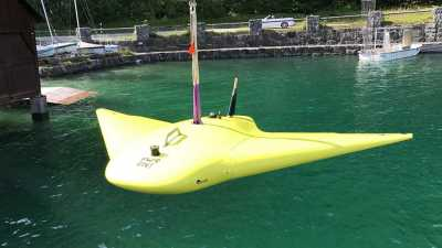 The glider MARUM-MOTH - here being tested on the Walchensee - is on board the Polarstern. Photo: MARUM - Center for Marine Environmental Sciences, University of Bremen