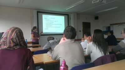 Charlotte giving a talk in the data assimilation (DA) seminar