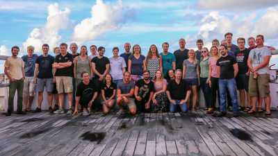 Group Picture of all scientists of Expedition SO263. Photo: W. Borchert