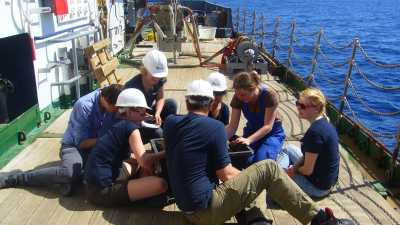 Early Career Researchers on a ship-board training (Photo credits: Marlen Baumer)