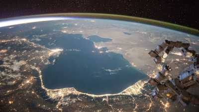 The Caspian Sea, seen here from the international space station ISS, is the largest lake in the world. Its water levels are falling due to climate change. Photo: NASA/Scott Kelly